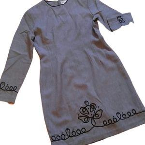 Vintage Misty Lane Gray Embroidered Classy Dress 6